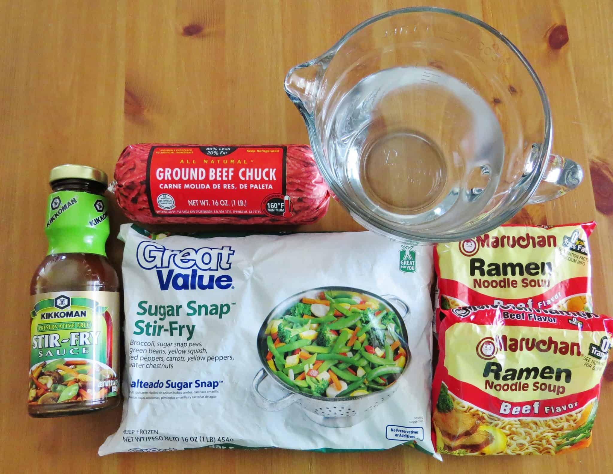 ingredients needed: ground beef, beef ramen noodle soup packets, stir fry sauce, sugar snap peas vegetable stir fry.