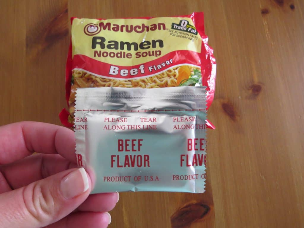 beef flavor granules from two packets of ramen noodle