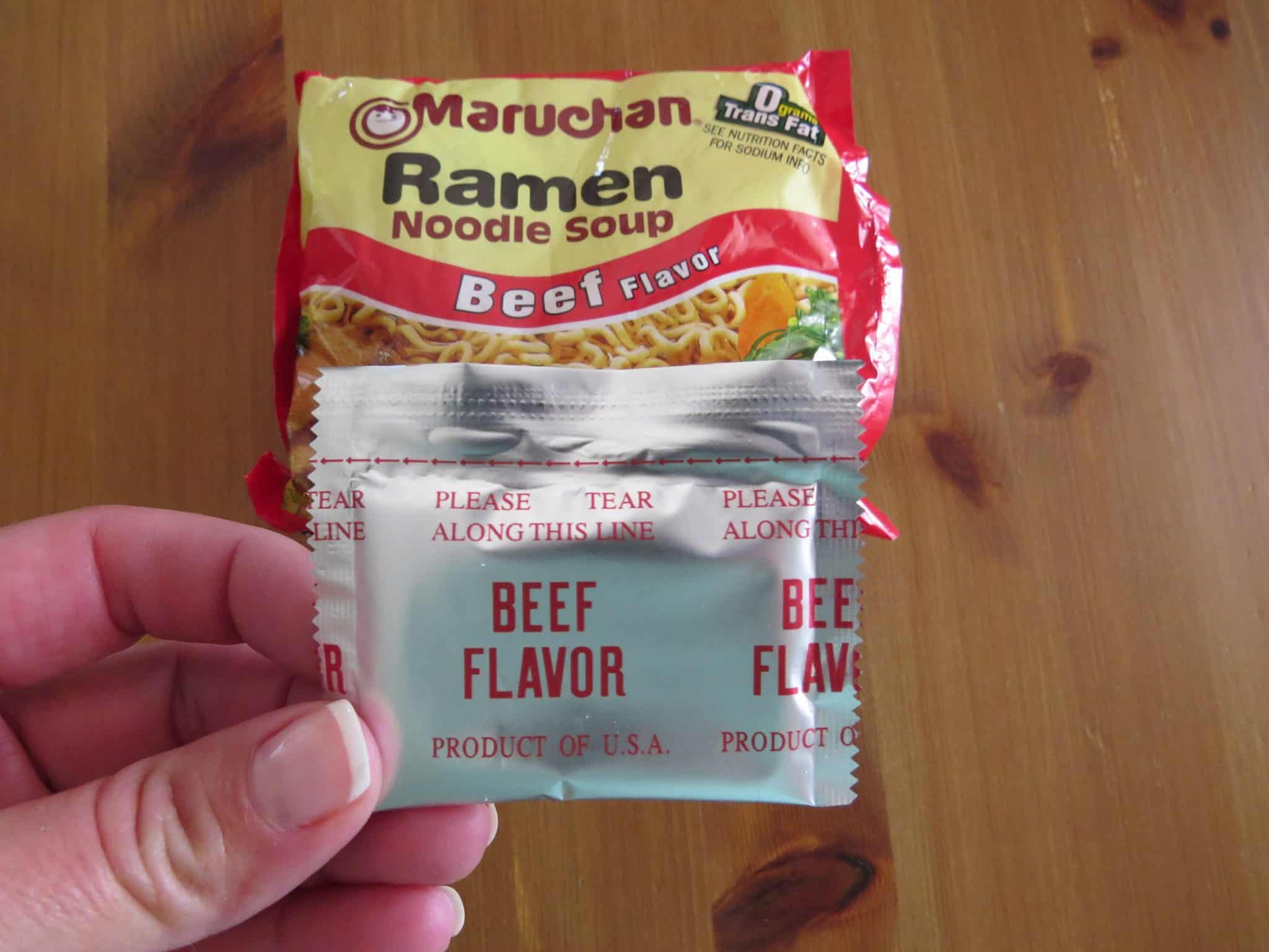 beef flavor granules from two packets of ramen noodle.
