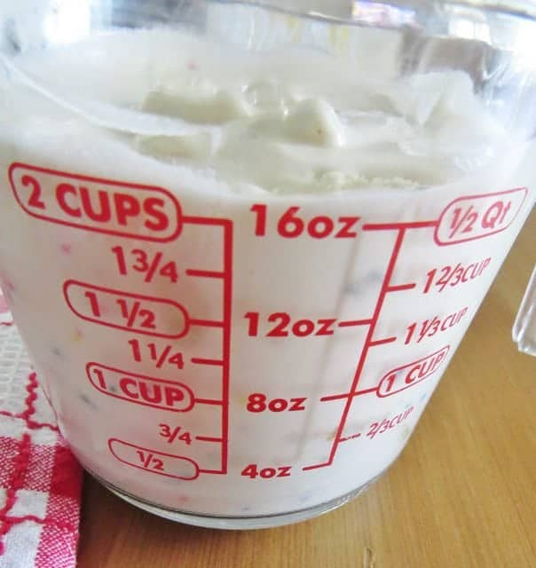 measuring melted ice cream