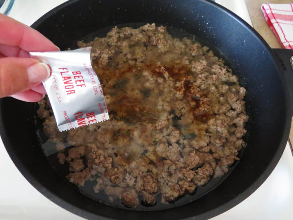 beef ramen flavor added to ground beef