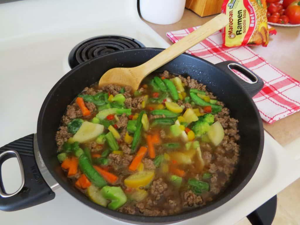 stir in frozen stir fry vegetables