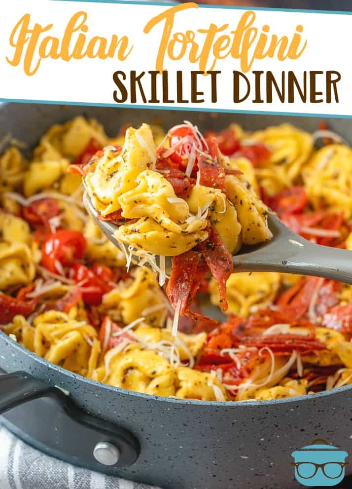 This Easy Italian Cheese Tortellini Skillet Dinner is a warm stovetop pasta meal. Fresh tomatoes, garlic, Italian seasonings, pepperoni and cheese tortellini!