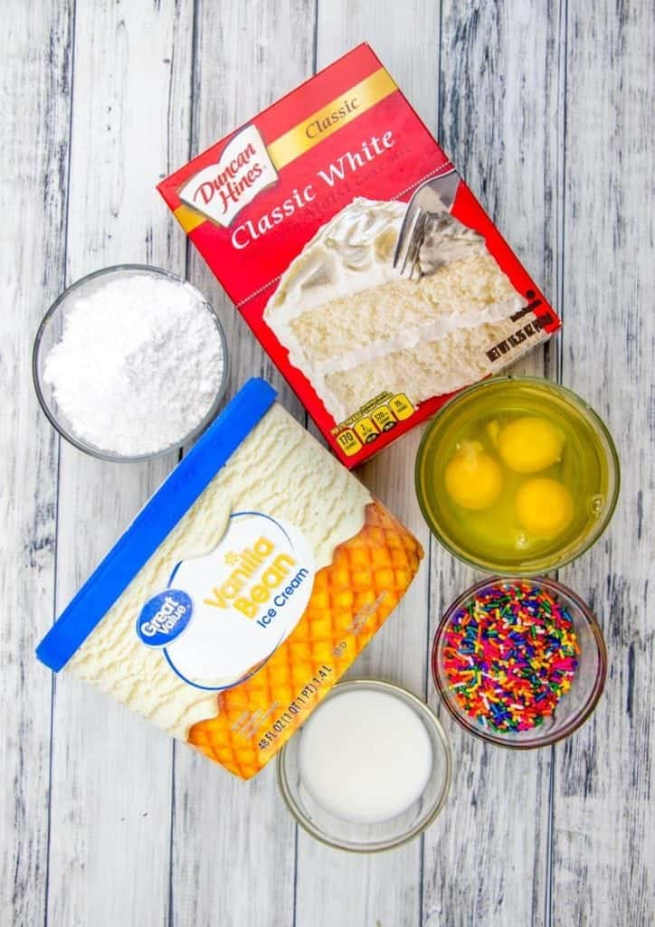 white cake mix, vanilla ice cream, eggs, powdered sugar, milk, sprinkles