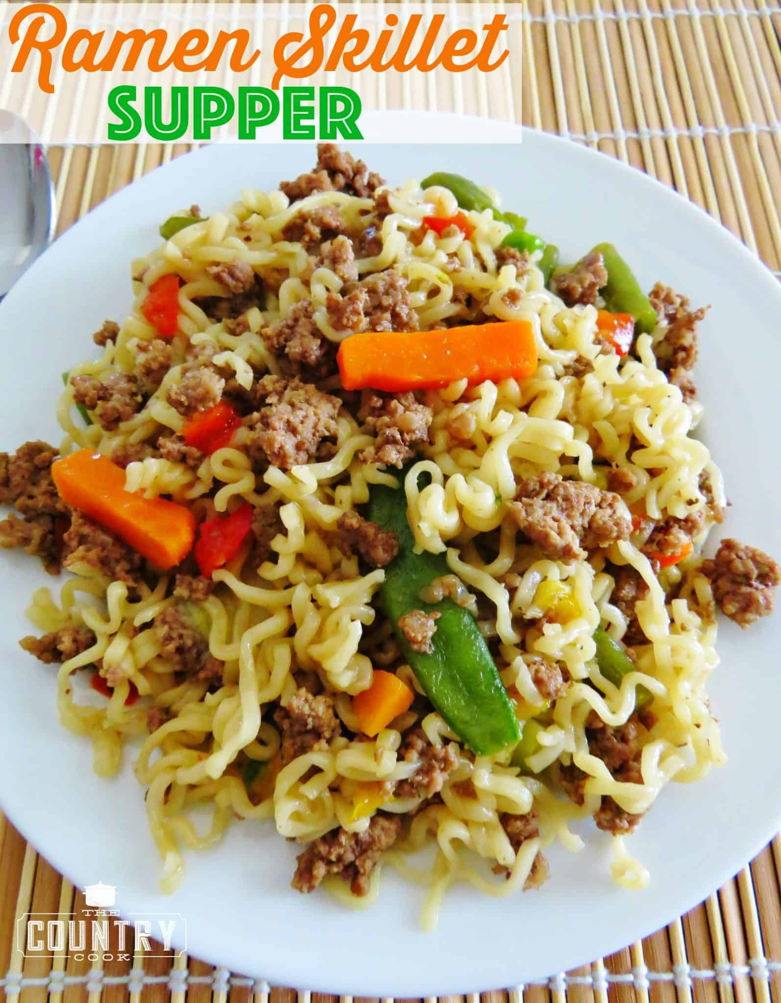 Ramen Skillet Supper with ground beef and vegetables recipe from The Country  Cook
