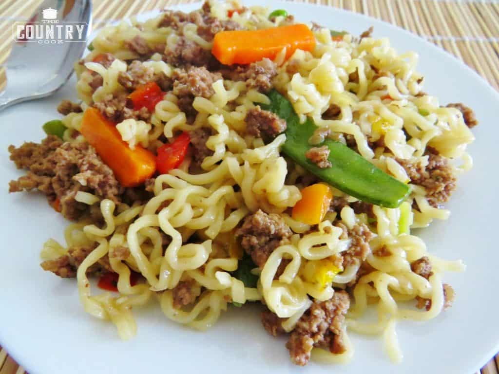 Ramen Skillet Supper with ground beef and vegetables