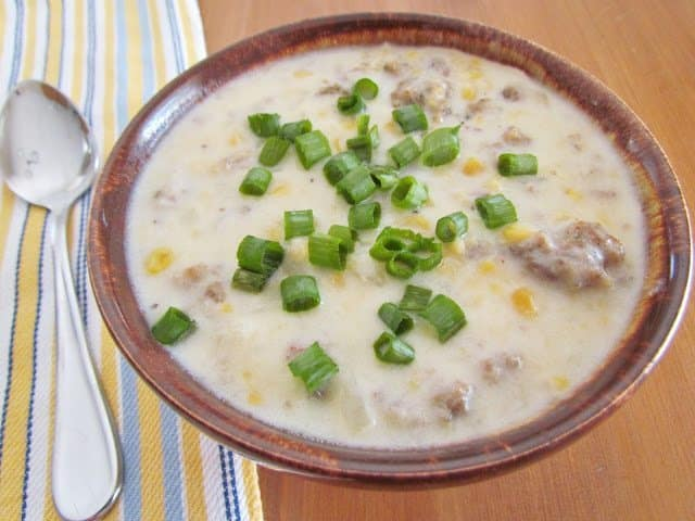 Sausage and Corn Chowder recipe from The Country Cook