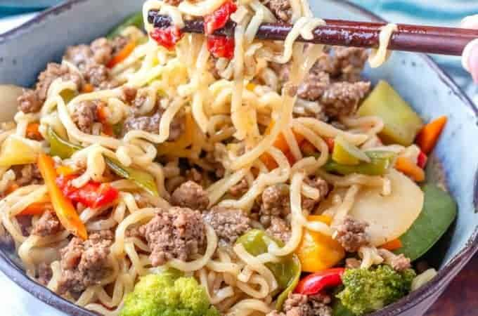 Ground Beef Ramen Noodle Meal