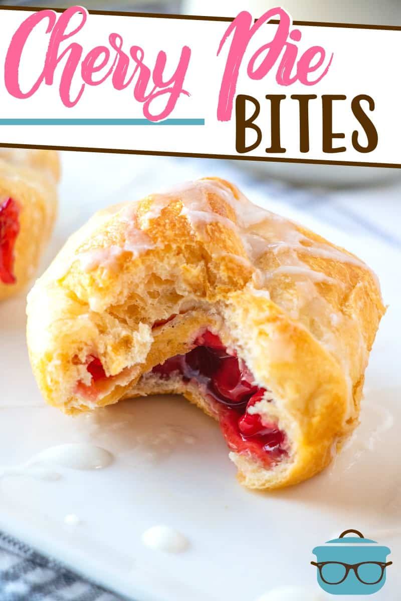 Cherry Pie Bites use simple ingredients like cherry pie filling and crescent rolls to make an easy, tasty dessert! Topped with an easy icing.