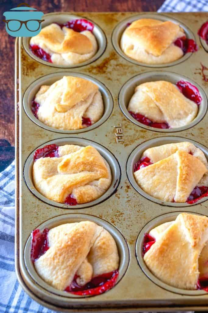 fully baked cherry pie bites still in the muffin tin
