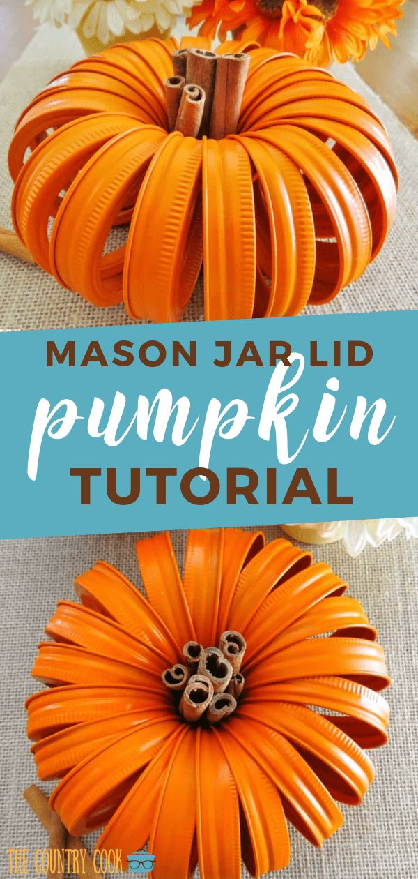 Mason Jar Lid Pumpkins with Cinnamon Stick stem makes the cutest fall centerpiece. It is easy to make and you only need lids and spray paint! #crafts #fallcrafts