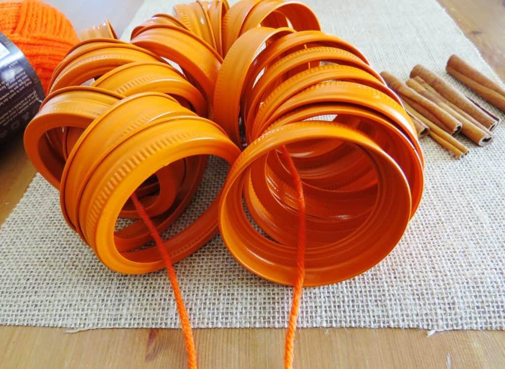 mason jar lids with string