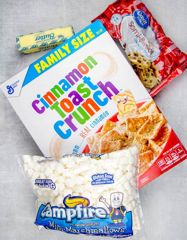 butter. mini marshmallows, Cinnamon Toast Crunch (or Golden Grahams), semi-sweet (or milk chocolate) chocolate chips