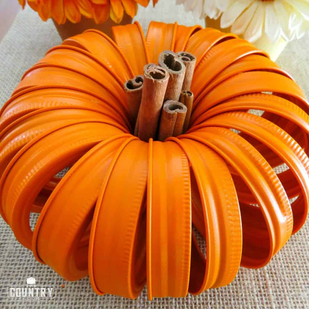 Mason Jar Lid Pumpkin with Cinnamon Stick stem craft