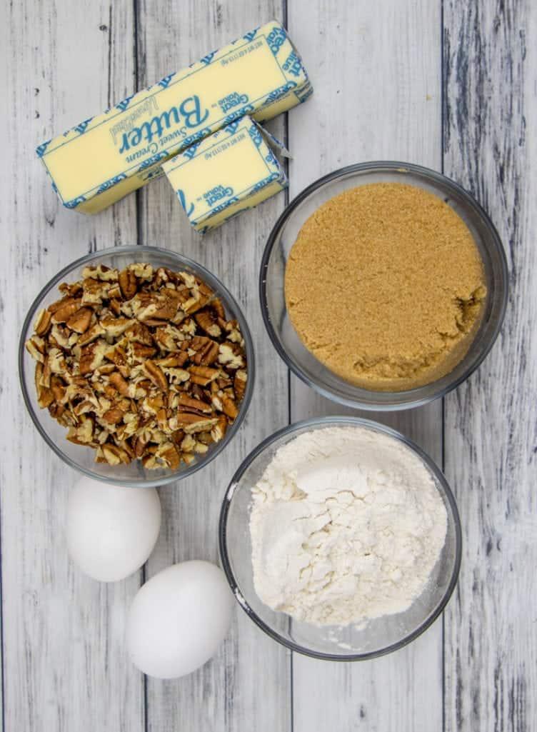 pecans, brown sugar, self rising flour, eggs, butter