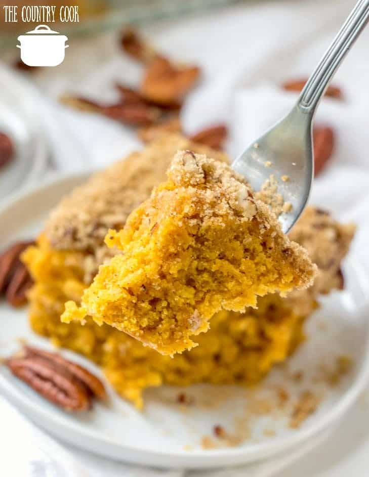 Homemade Pumpkin Cake with Streusel Topping on a white plate