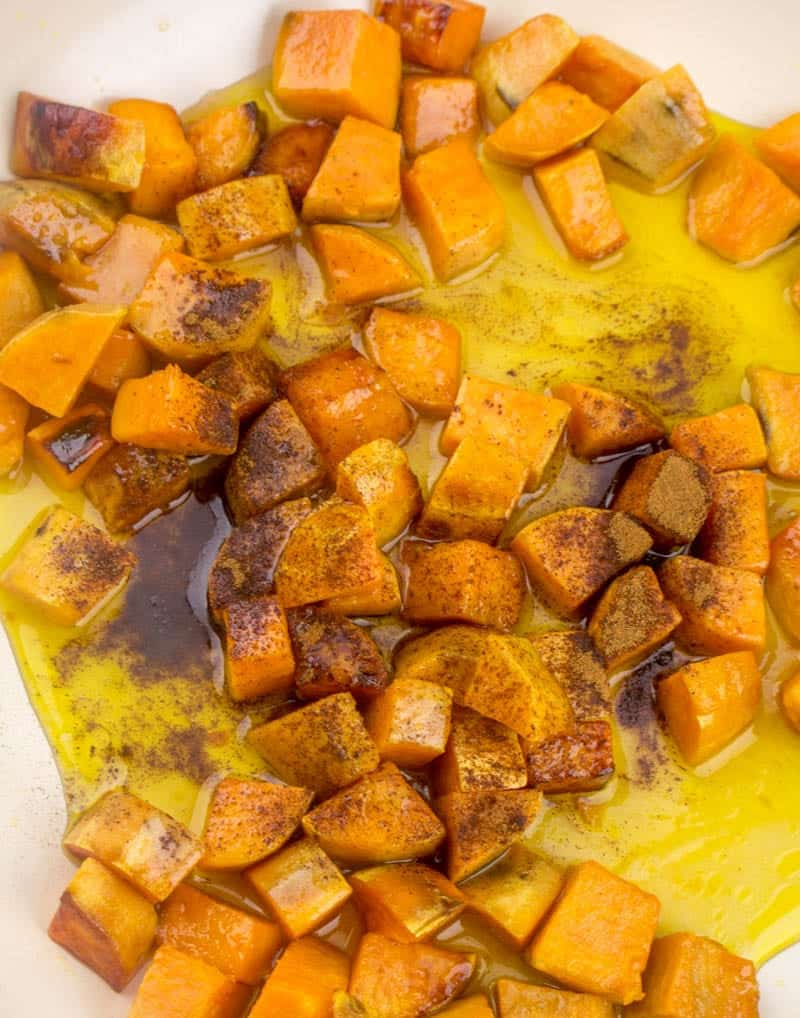 ground cinnamon stirred together with sweet potatoes and honey