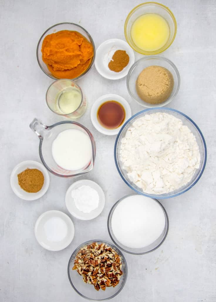 pure pumpkin puree, sugar, cinnamon, all purpose flour, butter, vanilla extract, cinnamon, chopped pecans
