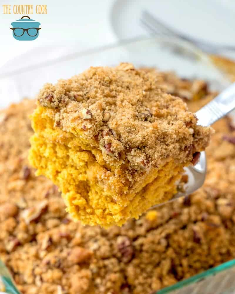 sliced, Pumpkin Pie Coffee Cake with streusel topping