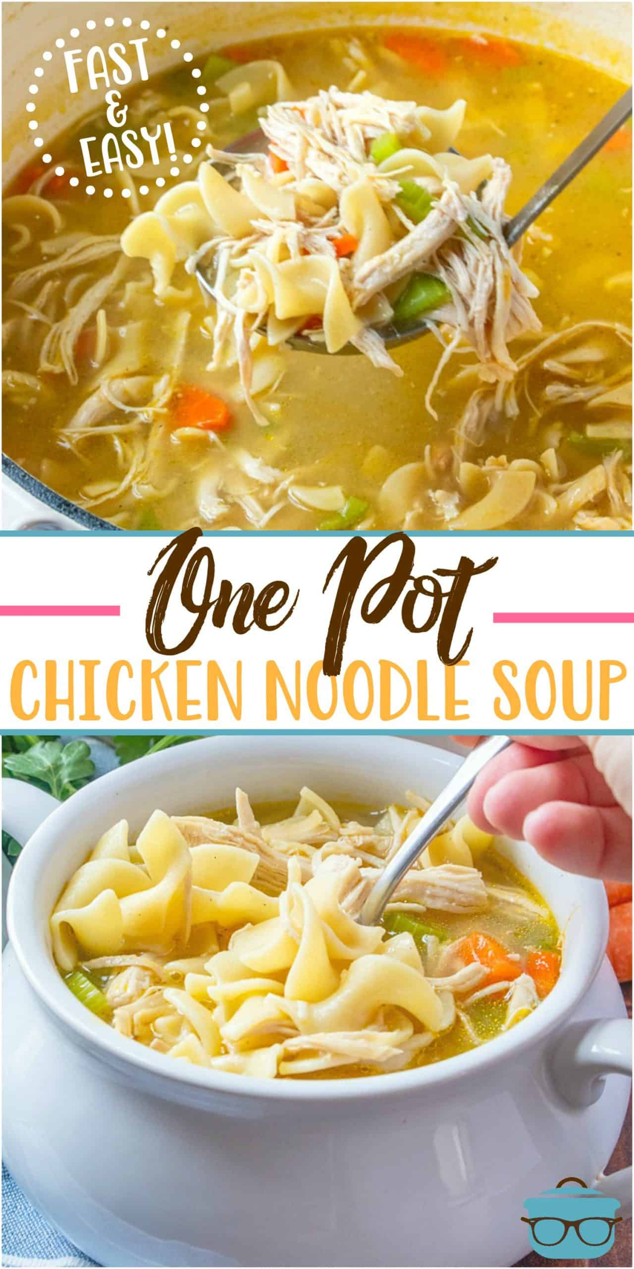This is the best shortcut One Pot Chicken Noodle Soup recipe! It has all the homemade flavor you love but it is quick and easy to prepare.
