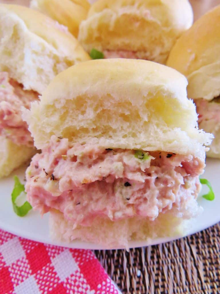 Ham Salad made in a food process or soft white rolls