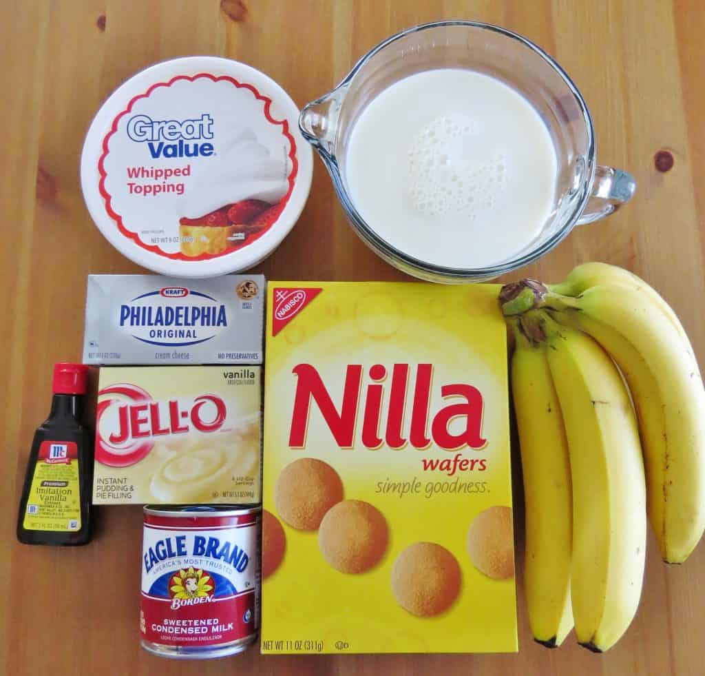 cream cheese, instant vanilla pudding, milk, Nilla wafers, sweetened condensed milk, ripe bananas, vanilla extract, Cool Whip