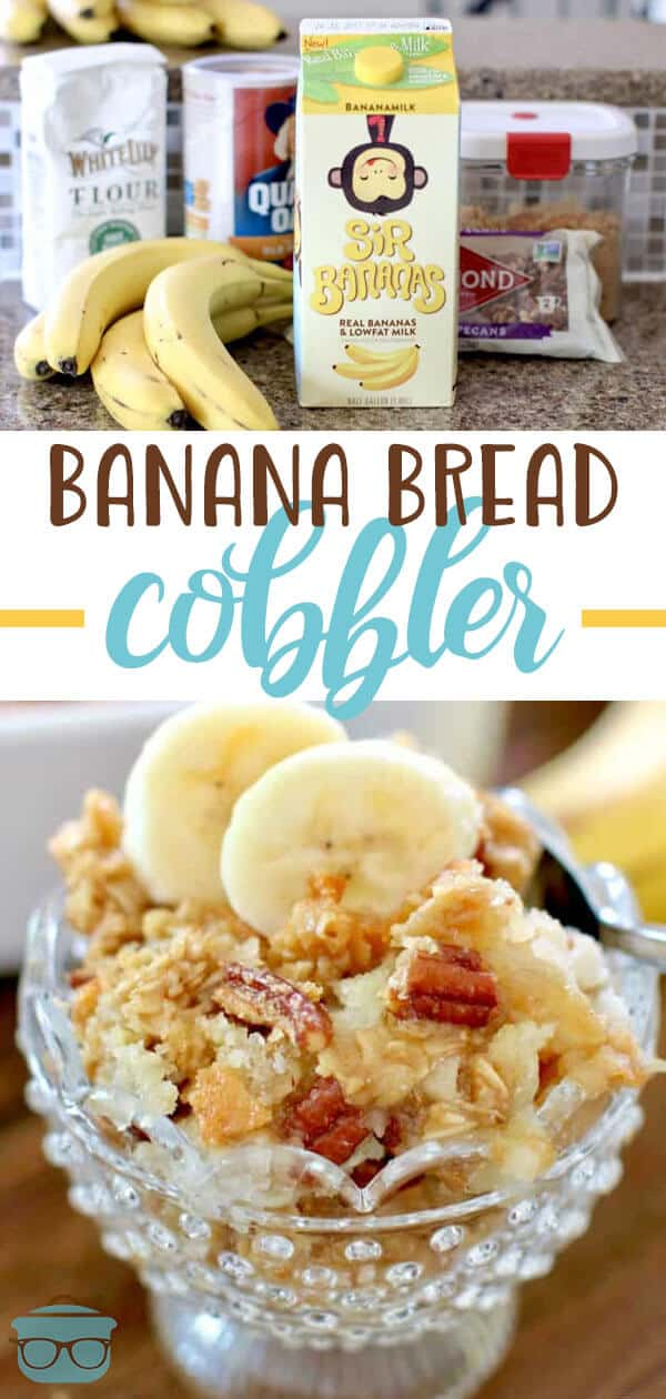 Homemade Banana Bread Cobbler recipe from The Country Cook #dessert #cobbler