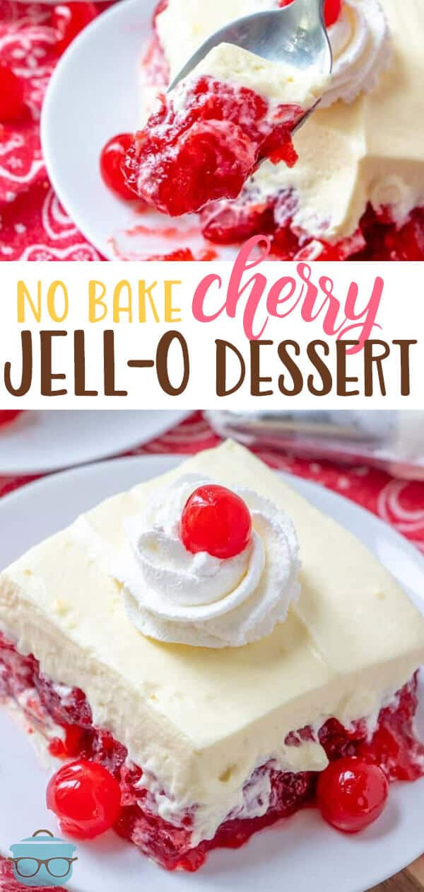 This No Bake Cherry Jell-O Dessert is always a huge hit! It's so easy to make with cherry gelatin, pie filling and a creamy whipped topping! #dessert #easy