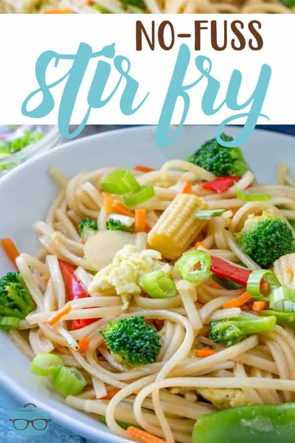 This recipe for No-Fuss Vegetable Stir Fry is a quck and easy meal that is full of seasoned rice noodles, vegetables and a delicious sauce!