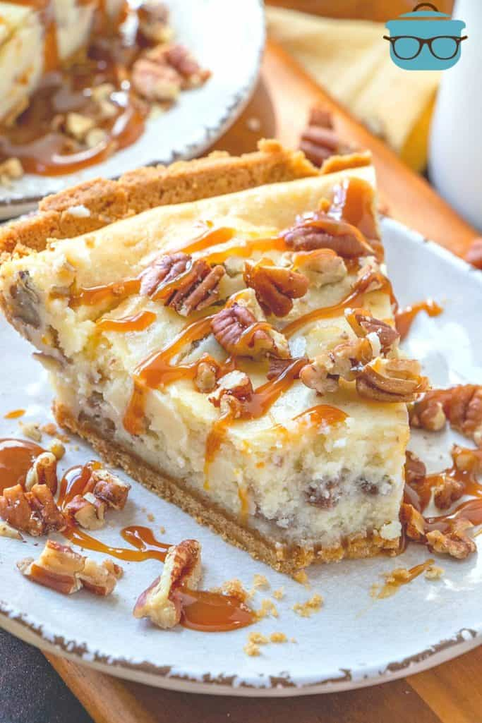 Easy Butter Pecan Cheesecake slice with a bite removed