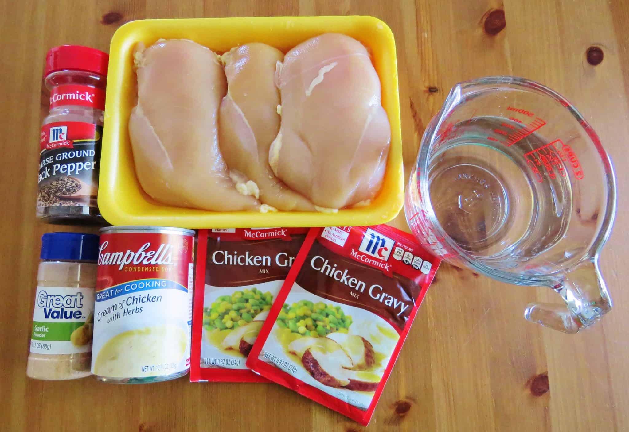 ingredients needed: boneless, skinless chicken breasts, chicken gravy mix packets, cream of chicken soup, garlic powder, black pepper, water.