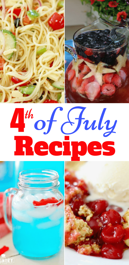 The Best 4th of July Recipes from The Country Cook! Lunch, Dinner, Dessert and cookout recipes are all in one place! #recipes #ideas #4thofJuly #July4th #IndependenceDay #cookout #bbq #camping #grilling #desserts #drinks #salads