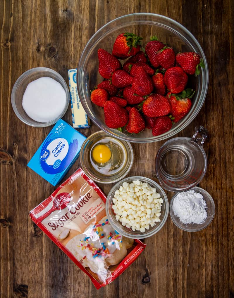 Betty Crocker® sugar cookie mix, salted butte,r egg, white chocolate chips, cream cheese, fresh strawberries, sugar, cornstarch, water