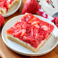 Strawberries & Cream Dessert Bars on white plates