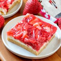 Strawberries & Cream Dessert Bars on white plates