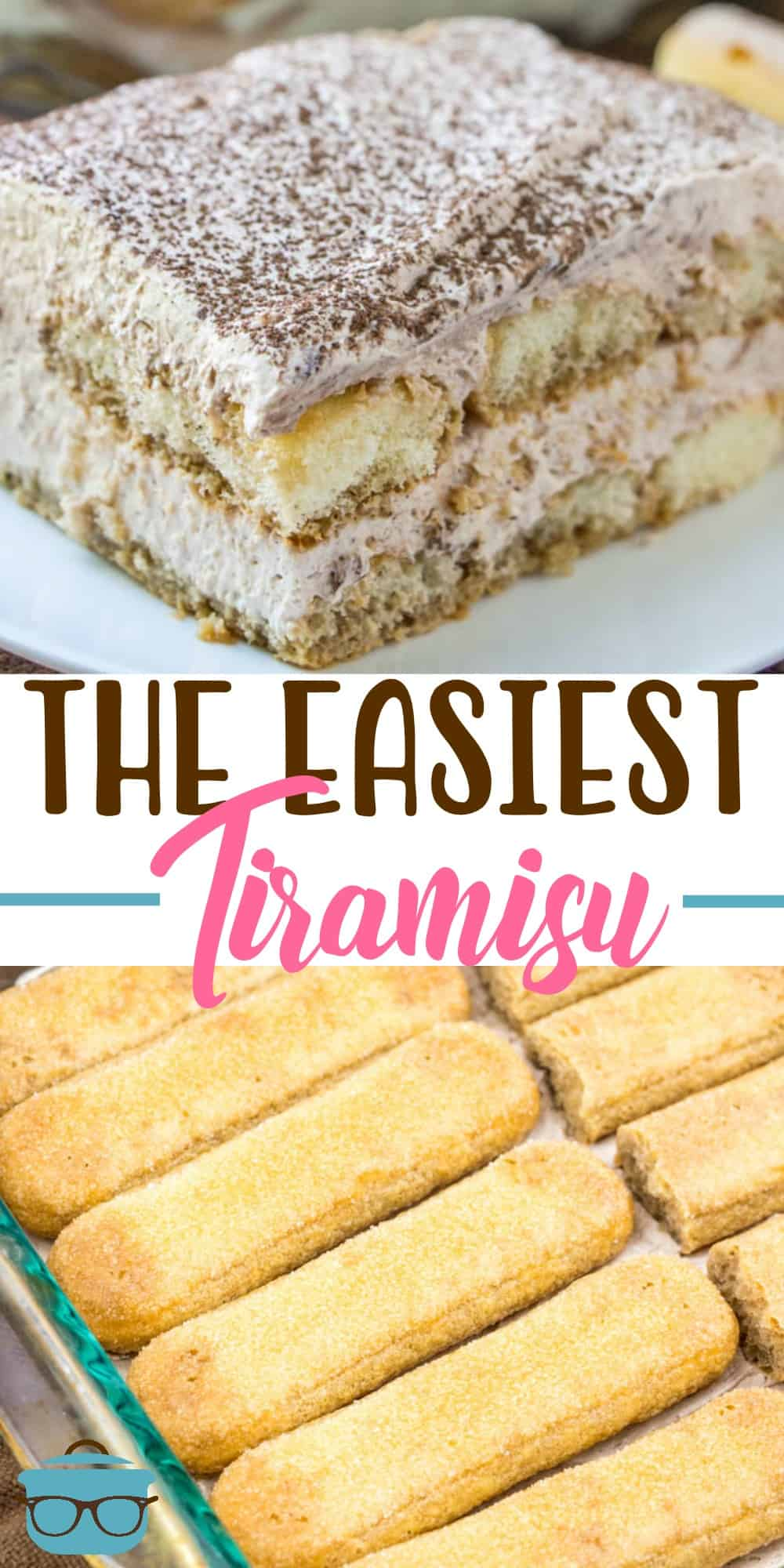 The Easiest Tiramisu is made with lady fingers dunked in store bought iced coffee, a creamy chocolate filling and a yummy whipped topping! #dessert #easytiramisu