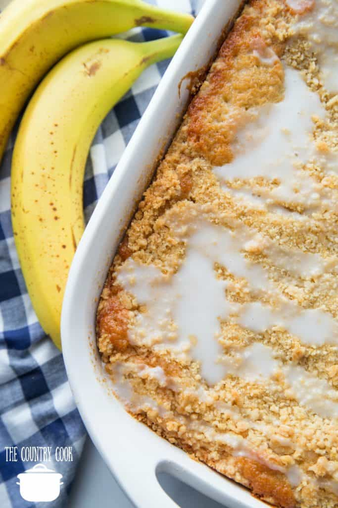 Best Banana Bread Crumb Cake with icing