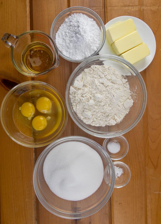 unsalted butter, sugar, eggs, all-purpose flour, baking powder, salt, sparkling apple cider.