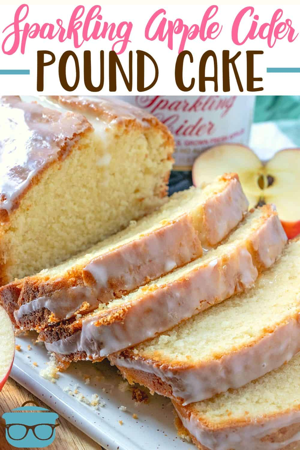 Sparkling Apple Cider Pound Cake is a moist homemade pound cake that has a light apple taste with a delicious apple cider glaze! #dessert #apple