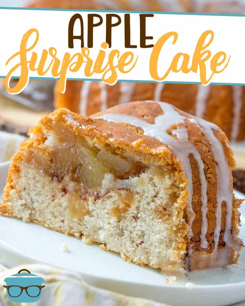 This Apple Surprise Cake recipe is made with an apple muffin mix with a surprise apple pie filling that is seen only when the cake is cut!