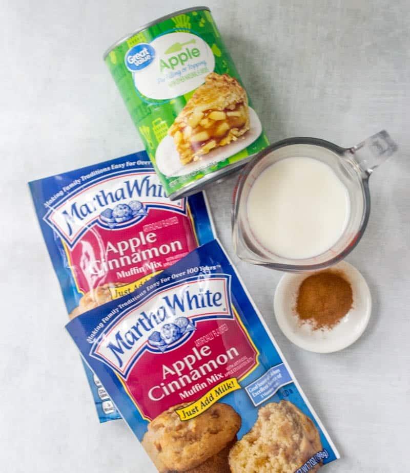 Apple Cinnamon or Apple Cider Muffin Mix, apple pie filling, cinnamon, milk, powdered sugar