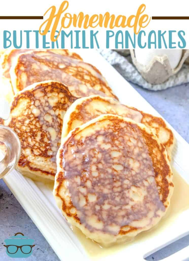 Homemade Buttermilk Pancakes with Maple Butter Sauce recipe from The Country Cook