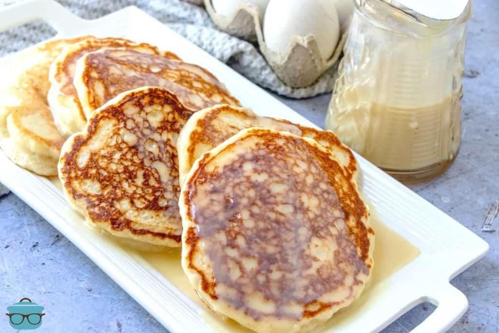 Homemade Buttermilk Pancakes on a platter