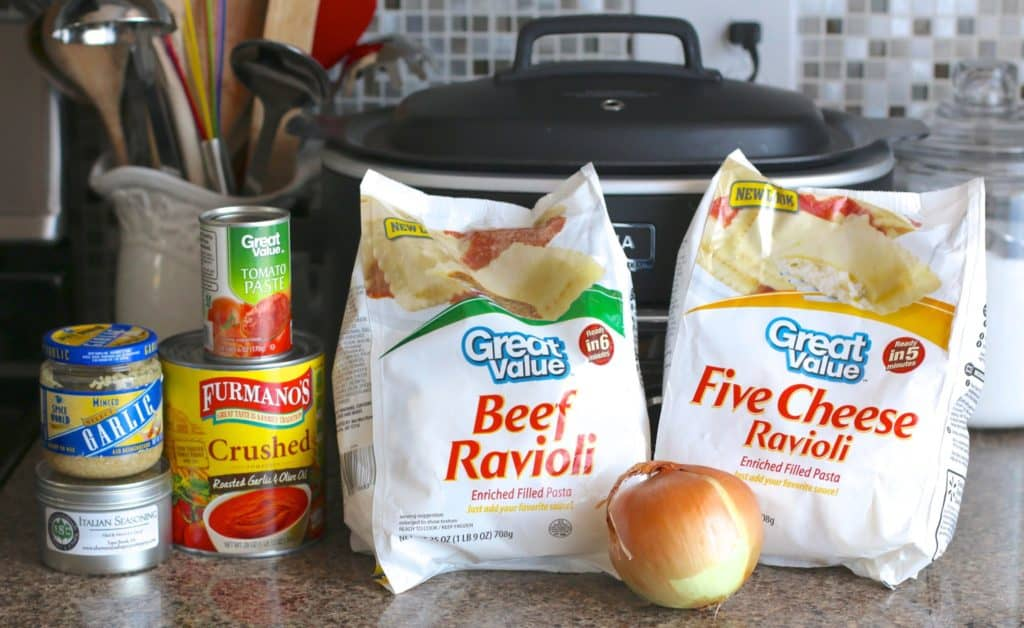frozen beef ravioli, frozen cheese ravioli, crushed tomatoes, tomato sauce, diced onion, Italian seasoning , minced garlic