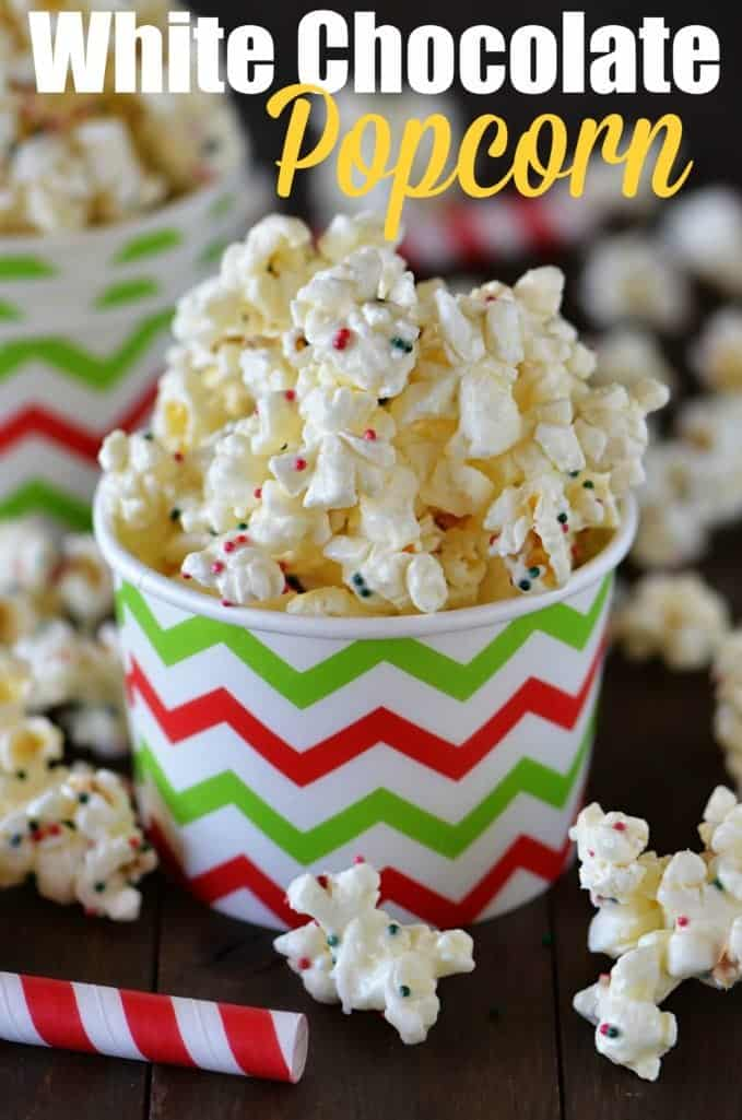 Easy White Chocolate Popcorn recipe from The Country Cook