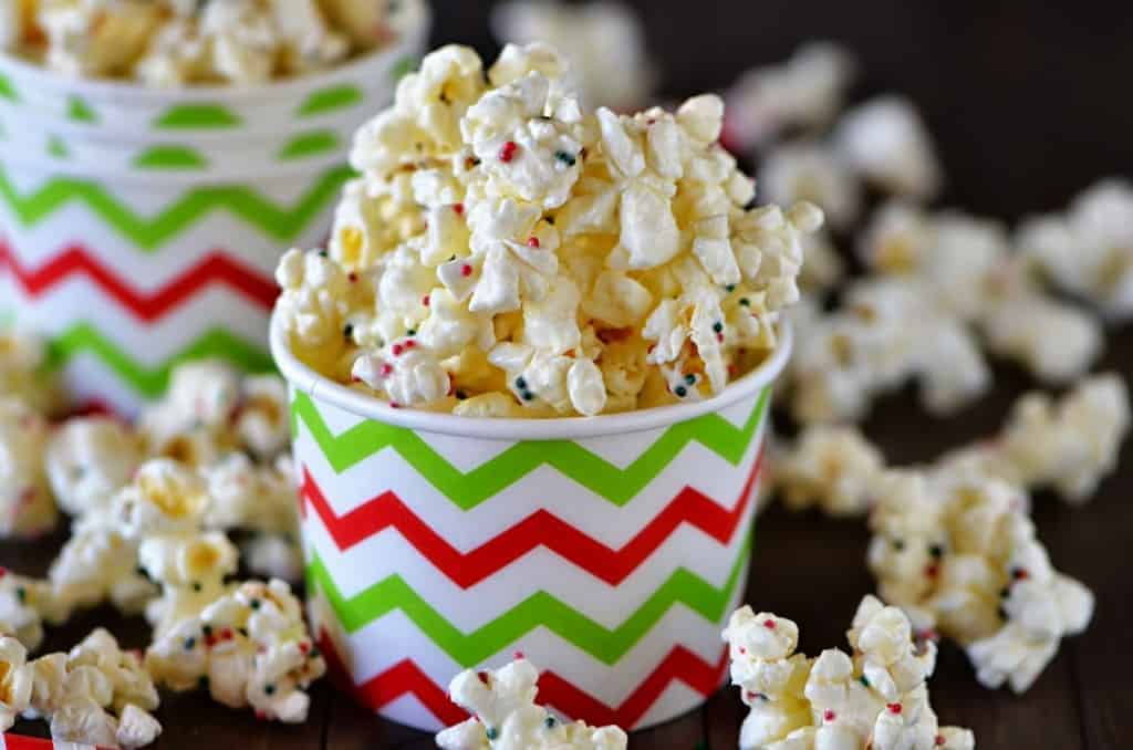 decorative bowl of white chocolate popcorn with colored sprinkles