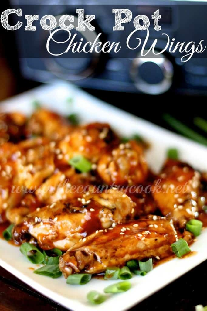Crock Pot Pineapple BBQ Chicken Wings recipe from The Country Cook