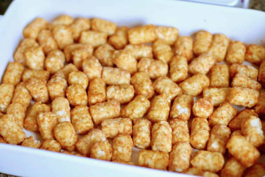 Frozen tater tots spread out in a single layer in a white Revol 13 x9 baking dish