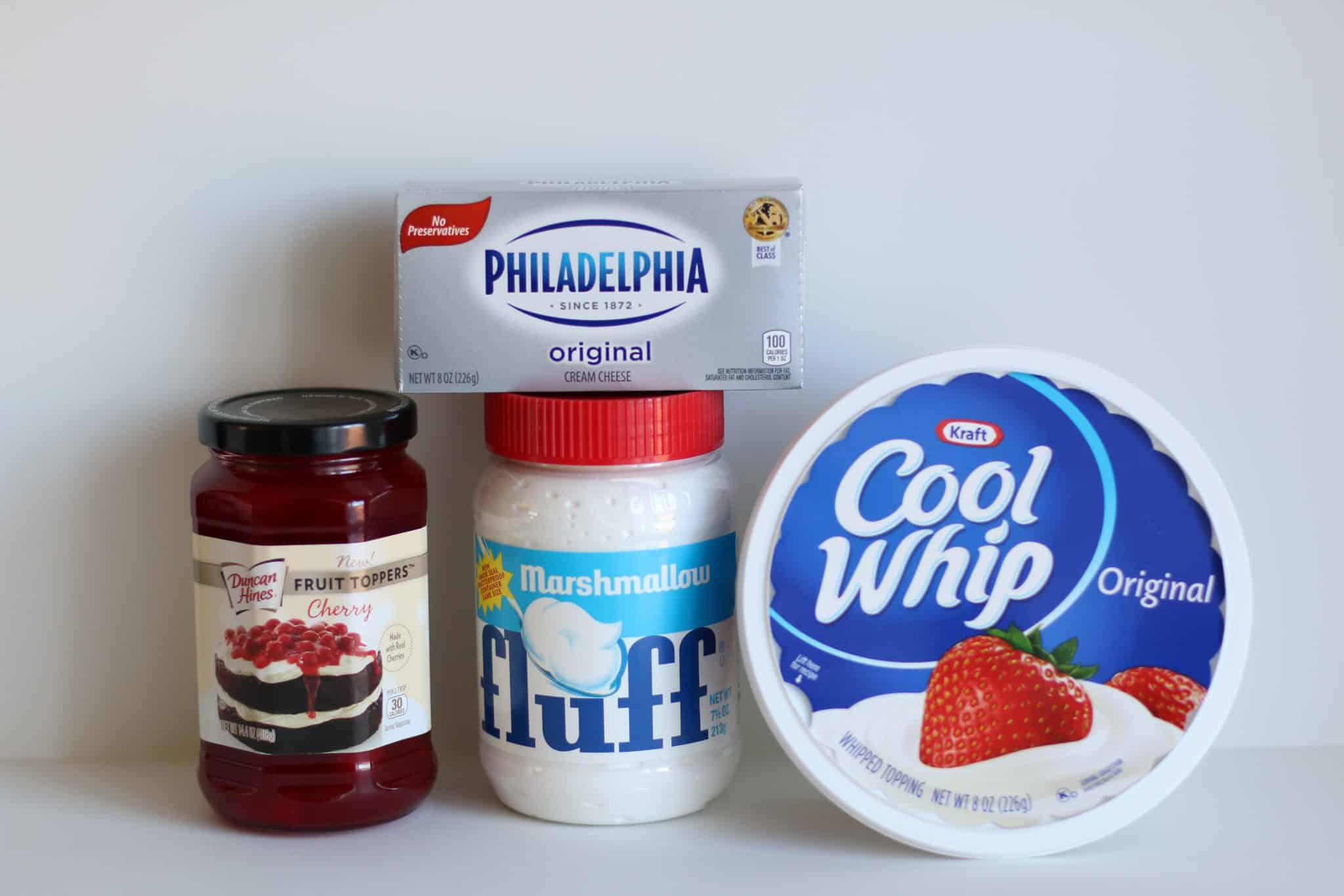 ingredients needed for cherry cheesecake dip: cream cheese, marshmallow fluff, Cool Whip and Cherry Pie Filling.
