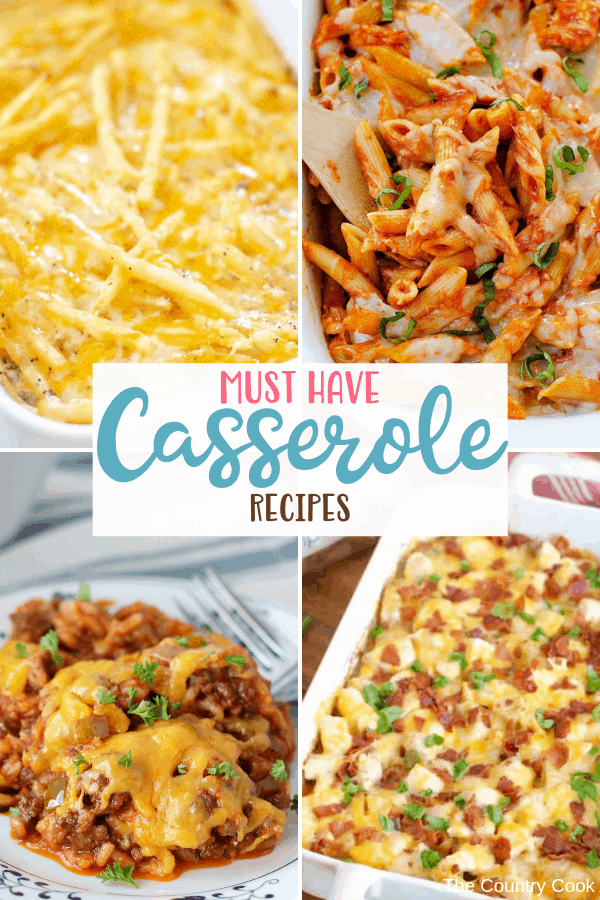 All the Must Have Casserole Recipes to make dinner a snap any night of the week. Stuffed Pepper Casserole, Cheeseburger and Fries casserole and many more! #casseroles #dinner